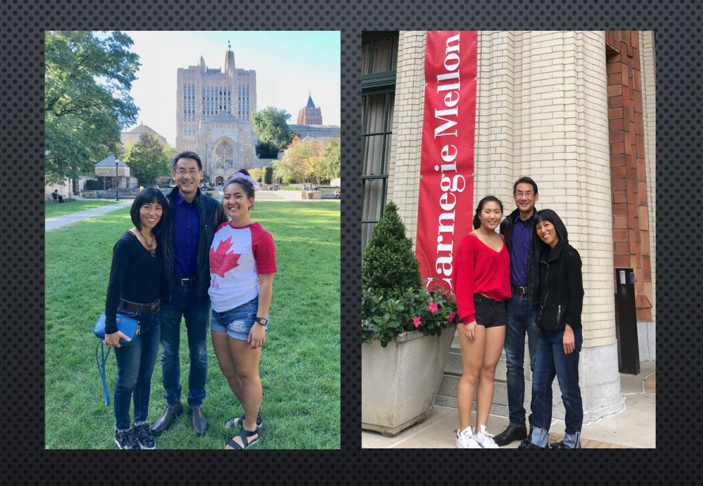 Stephen and Marsha visiting Christina at Yale and Annalisa at Carnegie Mellon