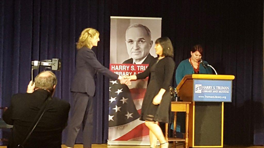 Christina Pao accepting Truman Scholarship Award 2019 - with Terry Babcock-Lumish